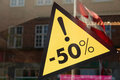 Sale sign 50 percent off the price