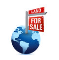 For sale sign on planet Earth illustration Royalty Free Stock Photo