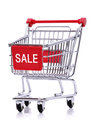 Sale sign on shopping cart red trolley isolated white background Royalty Free Stock Photography