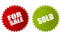 For sale and sold stickers vector stars Royalty Free Stock Photography