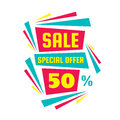 Sale special offer 50% - creative vector banner. Abstract layout for advertising and promotion actions.