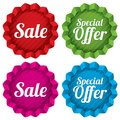 Sale and special offer price tags set vector red round star stickers icons for shopping isolated on white Royalty Free Stock Image