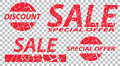Sale, special offers, discounts on grunge. Red a transparent bac