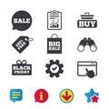 Sale speech bubble icons. Buy cart symbol. Royalty Free Stock Photo
