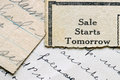Sale starts tomorrow Royalty Free Stock Photo