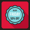 Sale sticker 50 percent off icon, flat style