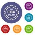 Sale sticker 50 percent off icons set