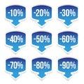 Sale sticker set blue Royalty Free Stock Photo