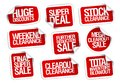 Sale stickers collection - huge discounts, super deal, stock clearance Royalty Free Stock Photo