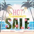 Sale summer banner, poster with palm leaves, jungle leaf and tropical flowers. Sea tropical summer background. Vector