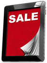Sale tablet computer with pages and monitor red velvet and word Royalty Free Stock Image