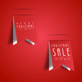 Sale tag for merry christmas celebration and up to text on paper cut design on red background Stock Photos