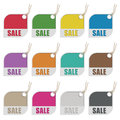 Sale tags collection of flat color isolated on white variations with transparencies Stock Photos