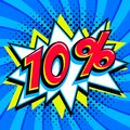 Sale tags collection. 10 ten percent off. Red number with bang shape on blue halftone background. super sale web banner