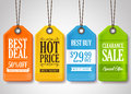Sale Tags Design Collection Hanging with Different Colors Royalty Free Stock Photo