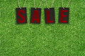 Sale Tags on Green Grass Royalty Free Stock Photo
