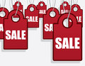 Sale tags hanging multiple red Royalty Free Stock Images