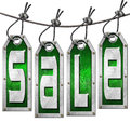 Sale Tags Hanging on White Background Royalty Free Stock Photos