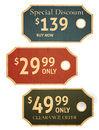 Sale tags old retro vintage grunge for clearance offer and special discount Royalty Free Stock Photos