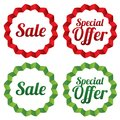 Sale tags set red stickers icons for shops collection vector special offer Royalty Free Stock Image
