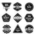 Sale tags and stickers set for best price high quality exclusive deal isolated vector illustration Royalty Free Stock Images