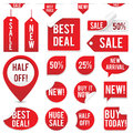 Sale tags and stickers set of red isolated on white background eps file with transparency Stock Images