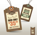Sale tags vintage style price design Royalty Free Stock Photos