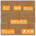 Sale tags on wooden