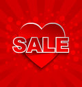 Sale text with red heart love background concept Royalty Free Stock Photography