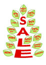 Sale tree with green leaves buttons Royalty Free Stock Photo