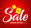 Sale Vector Banner with Special Offers Text and Shopping Bags Royalty Free Stock Photo