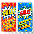 Sale web banners. Set of Pop art comic sale discount promotion banners. Big sale background. Decorative backgrounds with