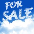 For sale white clouds in a clear blue sky with written in it Stock Photos