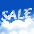 For sale white clouds in a clear blue sky with written in it Royalty Free Stock Images
