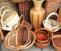 Sale of wicker baskets Royalty Free Stock Image