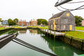 Salem harbor view from historic ship named Three-masted Friendship Royalty Free Stock Photo