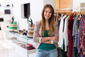 Sales assistant in clothing store Royalty Free Stock Photo