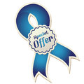 Sales a blue ribbon with a white icon for Royalty Free Stock Photo