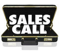 Sales call open briefcase selling presentation proposal words in an black leather to illustrate a or shown to customers clients or Stock Image