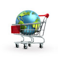 Sales concept world in shopping cart Royalty Free Stock Images