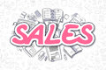 Sales - Doodle Magenta Inscription. Business Concept.