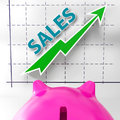Sales graph means increased selling and earnings meaning Stock Photo