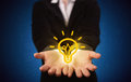 Sales guy has bright idea in the hand