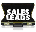 Sales leads briefcase words new customers prospects opportunity in a black leather to illustrate or in a selling with proposal or Stock Image