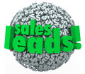 Sales leads dollar sign sphere money converting prospects custom words on d of signs or symbols to illustrate into new customers Stock Photo