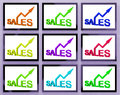Sales on monitors showing selling increase and profits Stock Photo