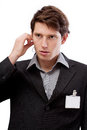 Sales representative with id to put your text there professional in suit here Royalty Free Stock Photography