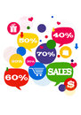 Sales shopping icons colorful bubbles buttons floating with and percents Royalty Free Stock Photo