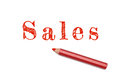 Sales sketch red pencil Royalty Free Stock Photo