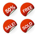 Sales sticker tag with discounted percentage Royalty Free Stock Photo